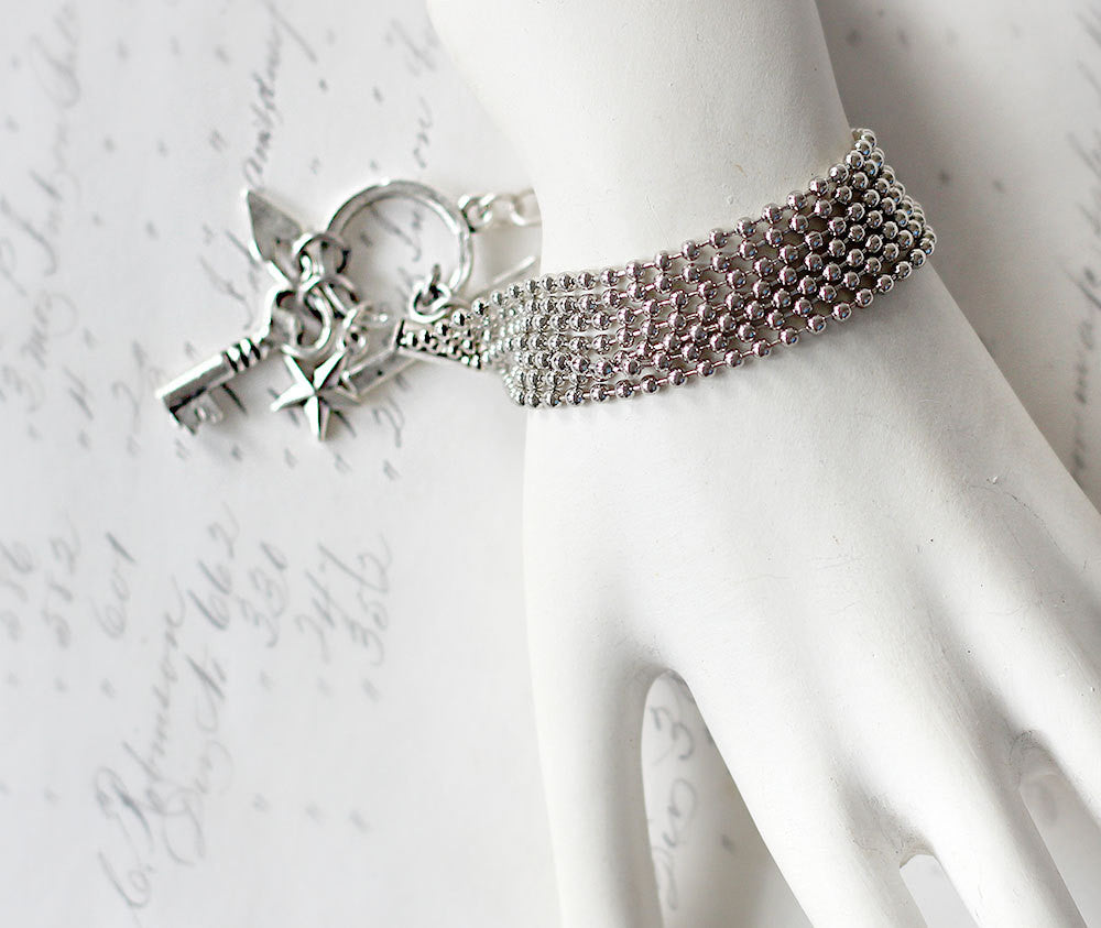 Silver Multi Strand Bracelet with Charms