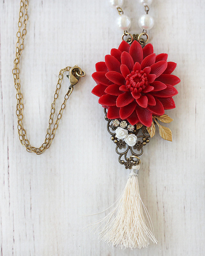Long Tassel Necklace Red Water Lily close up