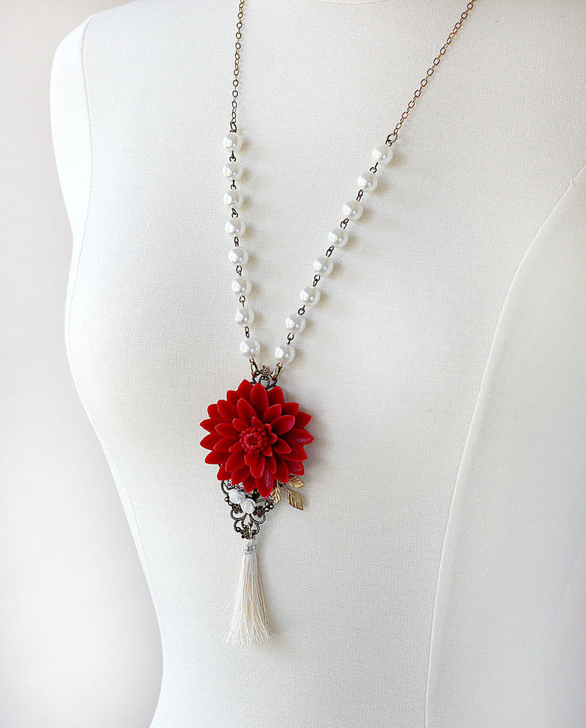 Long Tassel Necklace Red Water Lily hanging left on mannequin