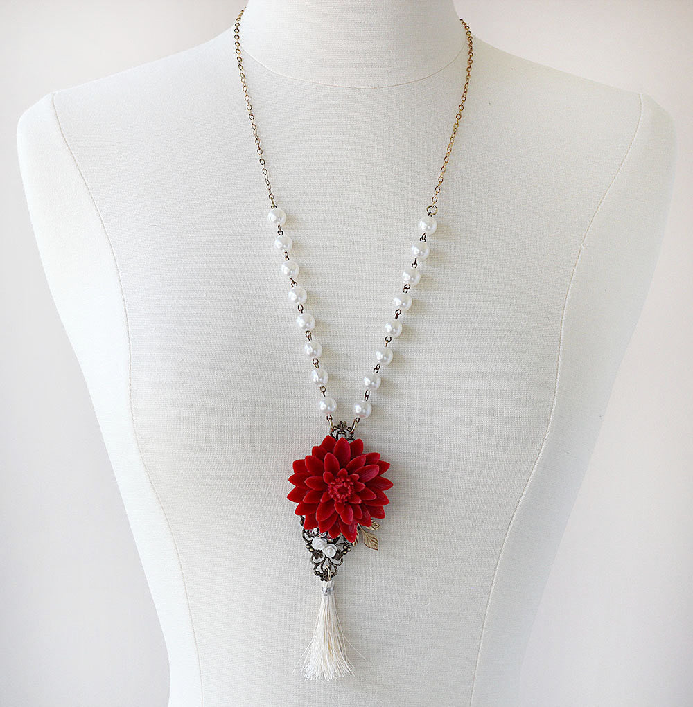 Long Tassel Necklace Red Water Lily straight on mannequin