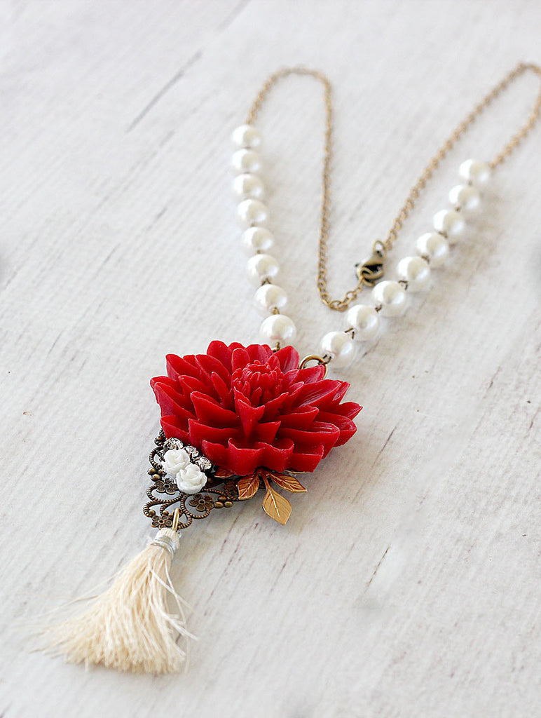 Long Tassel Necklace Red Water Lily