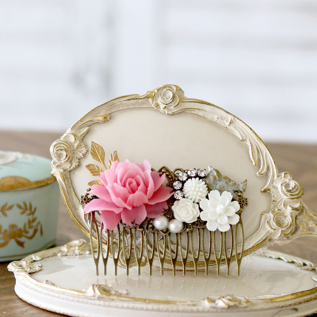Decorative Hair Comb Pink and Cream Florals with Bird on dresser