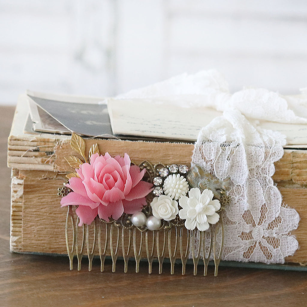 Decorative Hair Comb Pink and Cream Florals with Bird with vintage books