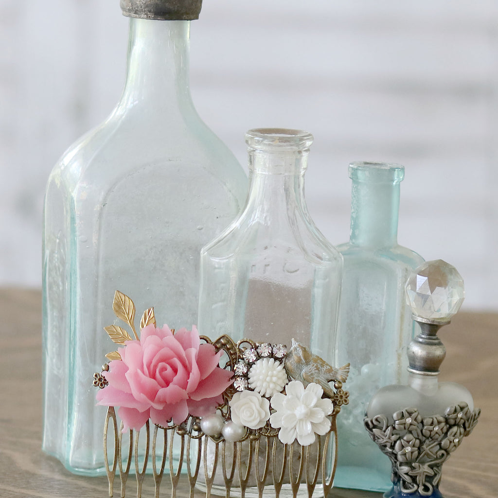 Decorative Hair Comb Pink and Cream Florals with Bird with vintage bottles