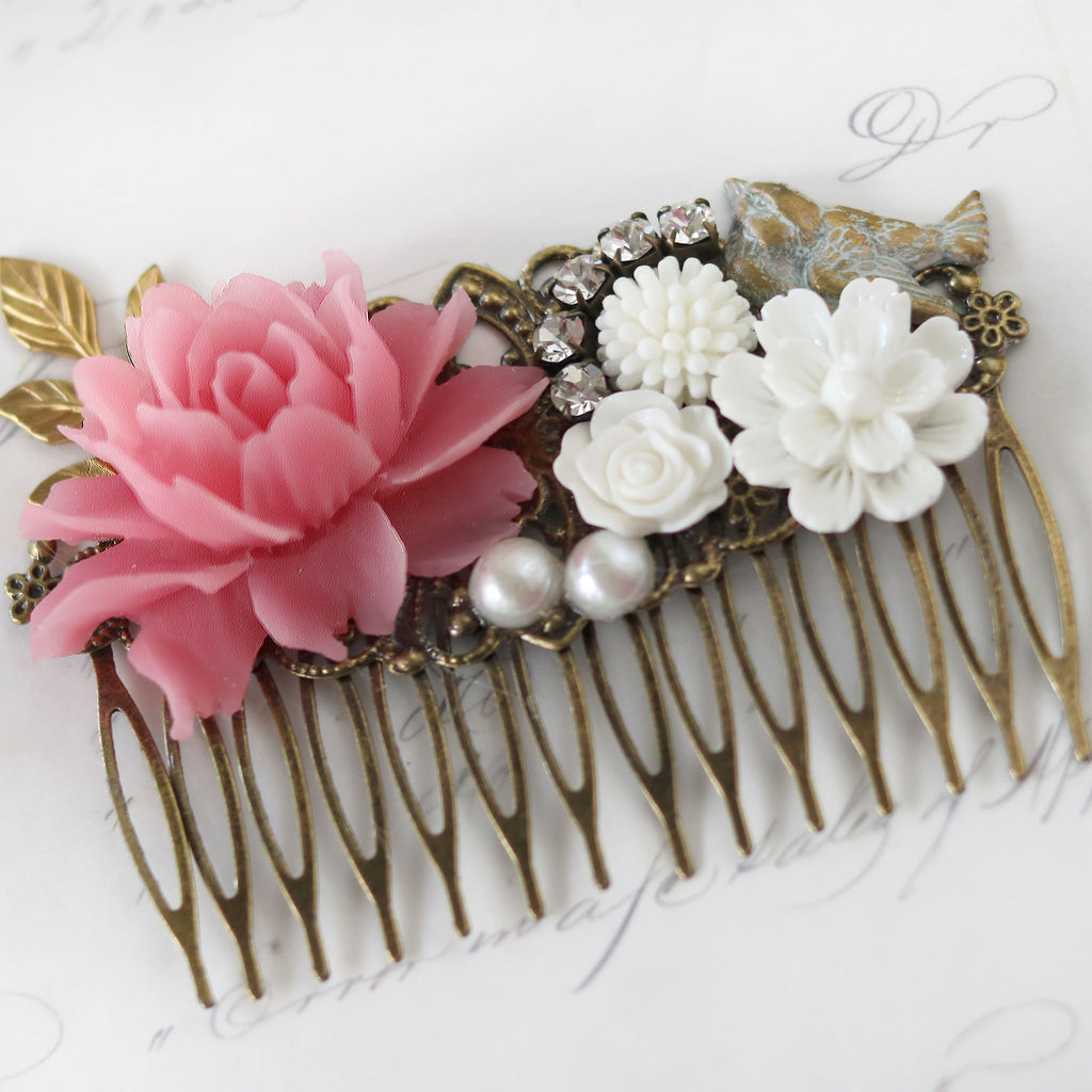 Decorative Hair Comb Pink and Cream Florals with Bird