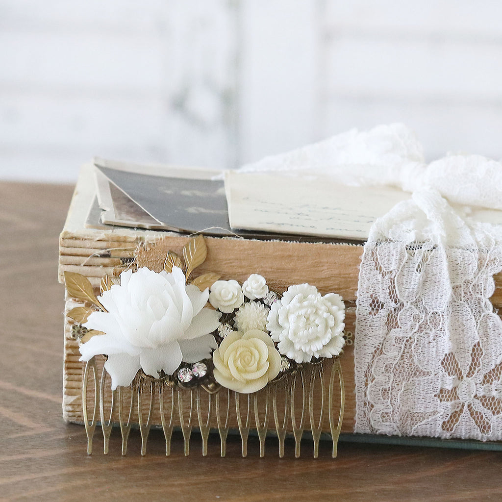 Decorative Hair Comb White and Cream Flowers with vintage books