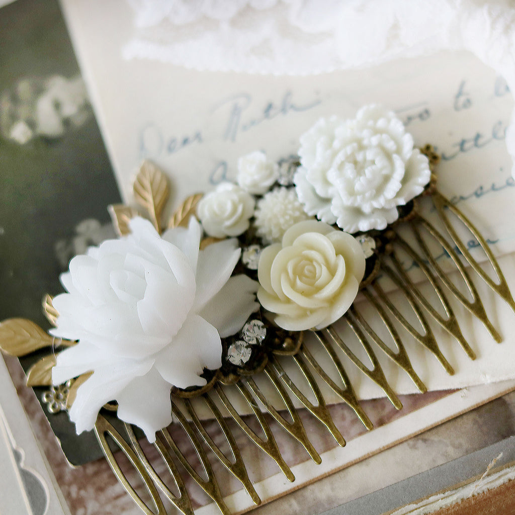 Decorative Hair Comb White and Cream Flowers extreme close up