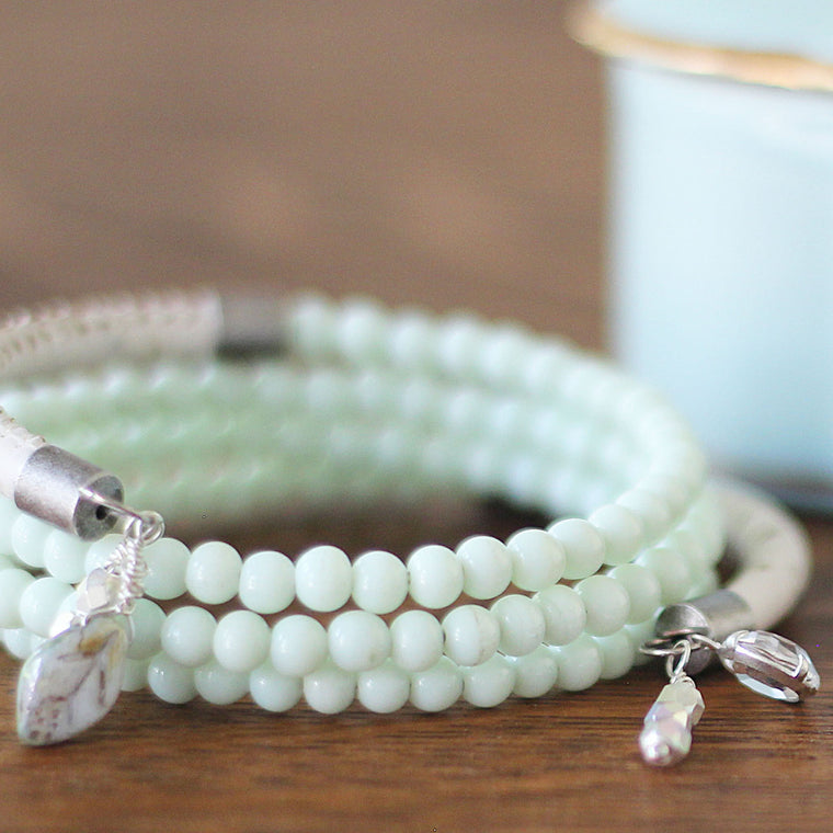 Wrap Memory Wire Bracelet White and Mint Green