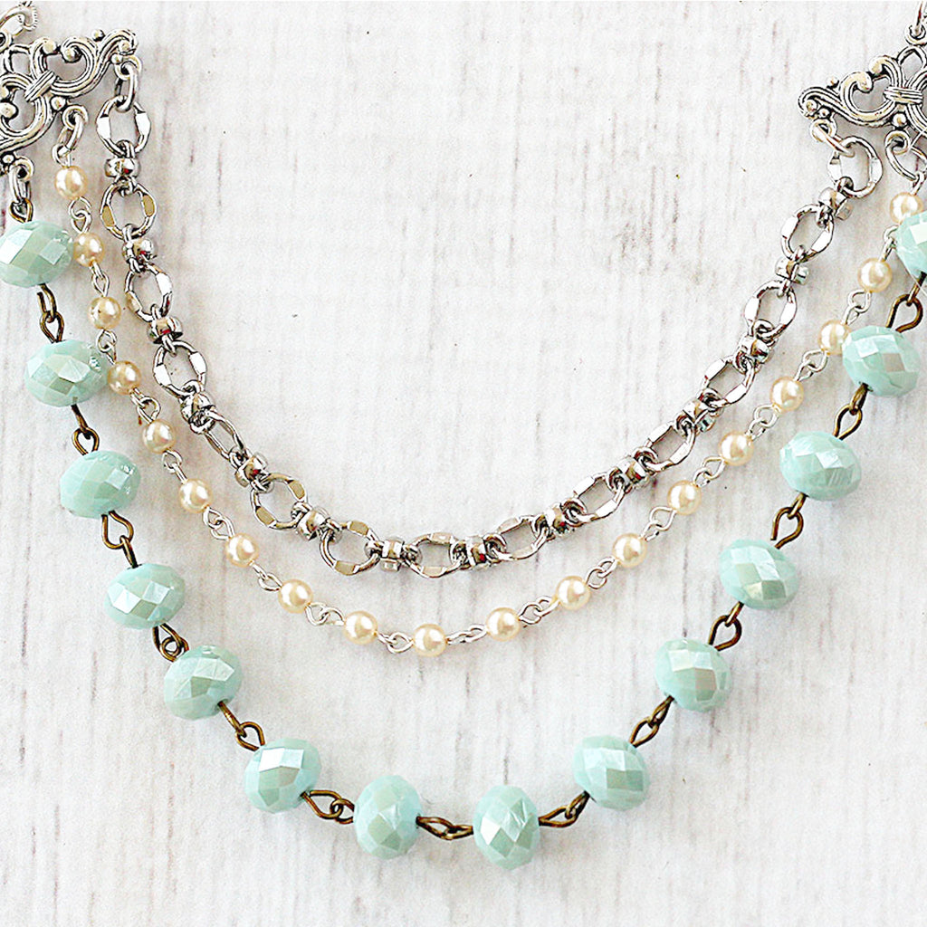 Multi Strand Necklace rosary style beaded chain
