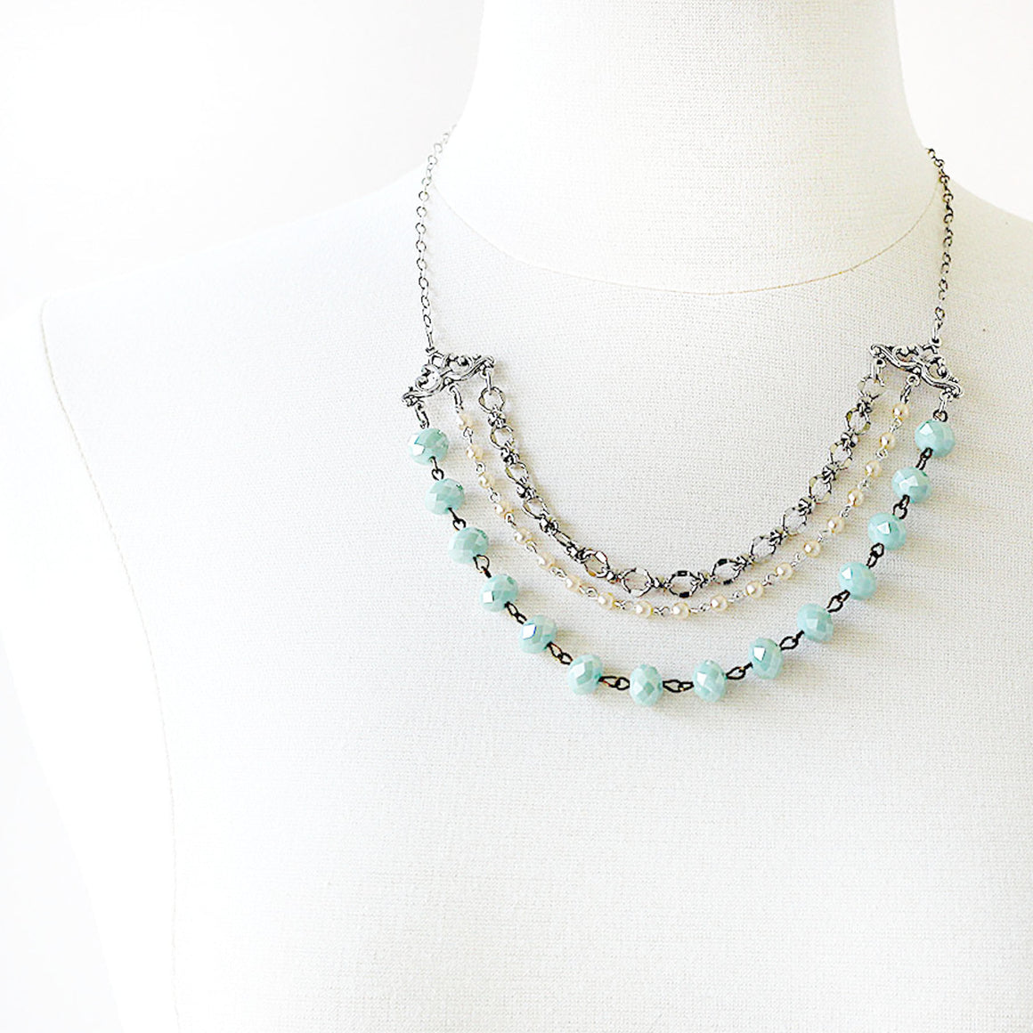 Multi Strand Necklace Beaded Silver and Seafoam