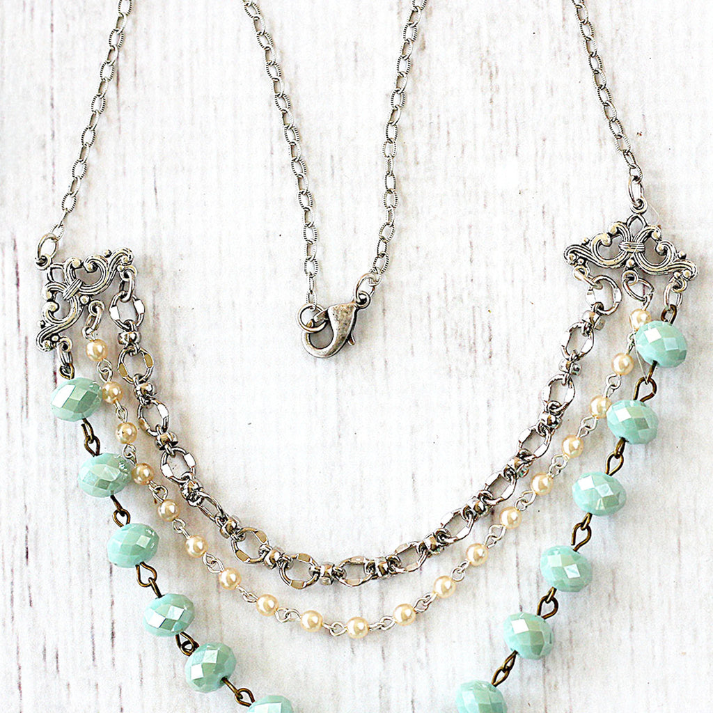 Beaded Multi Strand Necklace in Silver and Seafoam