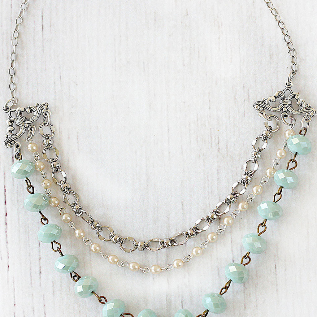 Beaded Multi Strand Necklace in Silver and Seafoam close up