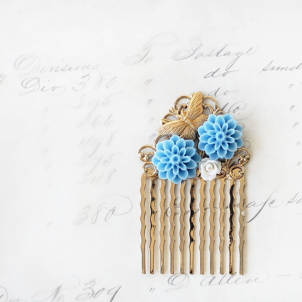 Small Decorative Hair Comb Blue Dahlias and Butterfly