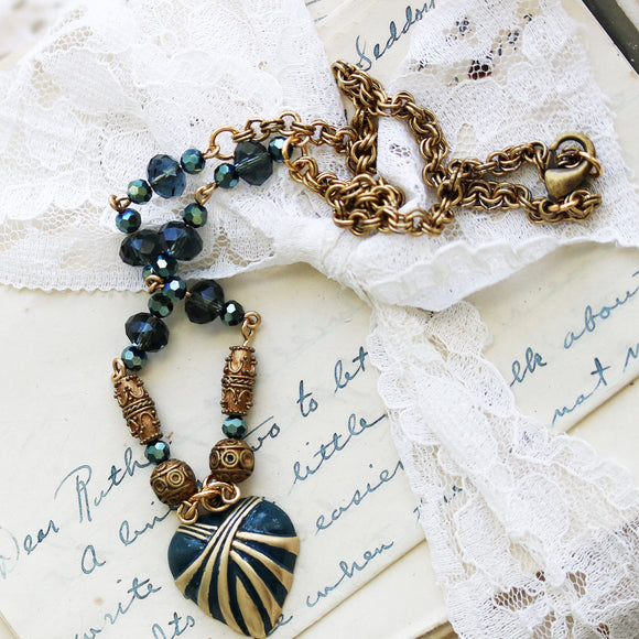Handpainted Heart Jewelry - Blue and Antique Brass