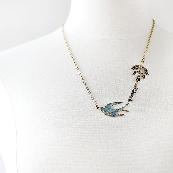 Flying Swallow Bird Necklace Patina Blue and Gold Toned Brass