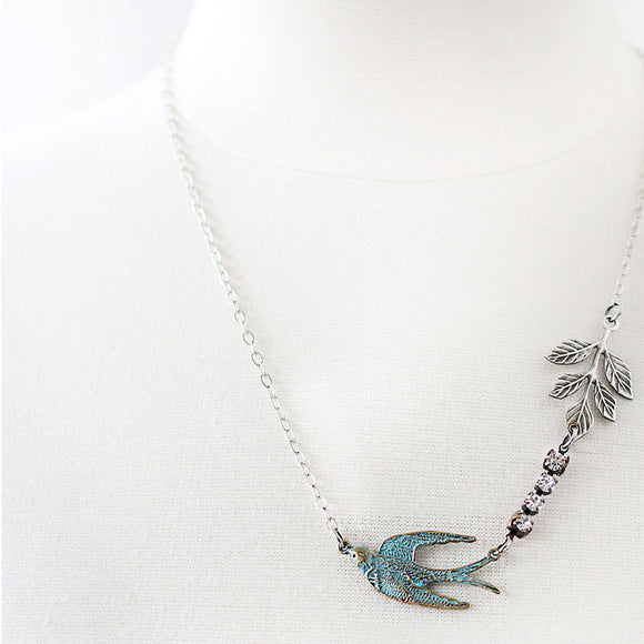 Flying Swallow Bird Necklace - Patina Blue and Silver