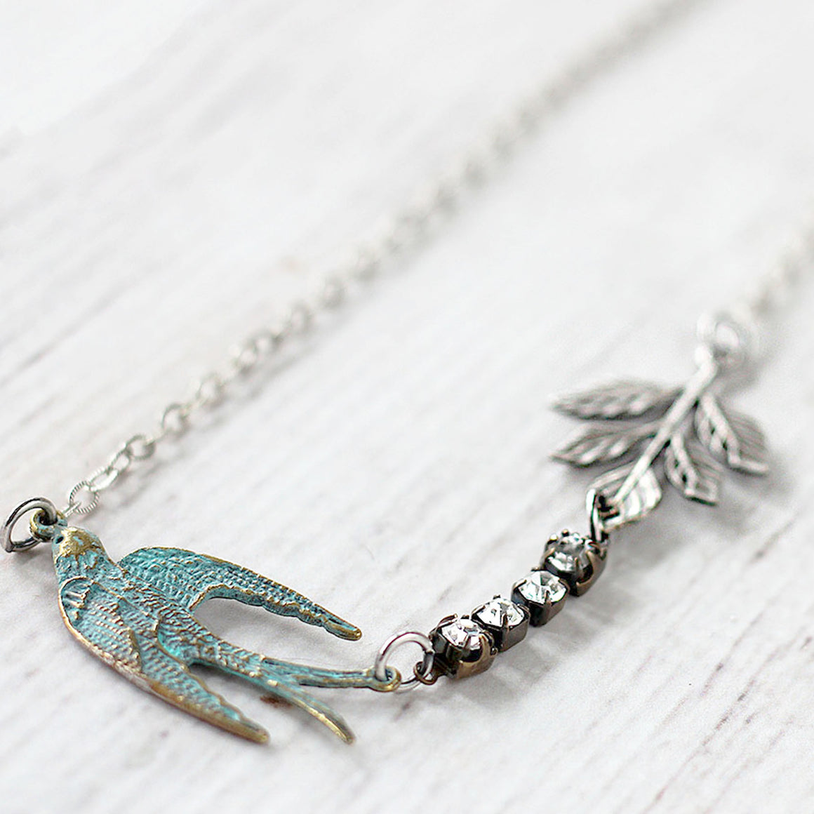 Flying Swallow Bird Necklace - Patina Blue and Silver close