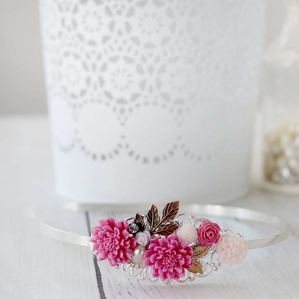 Pink Flower Headband laying on table