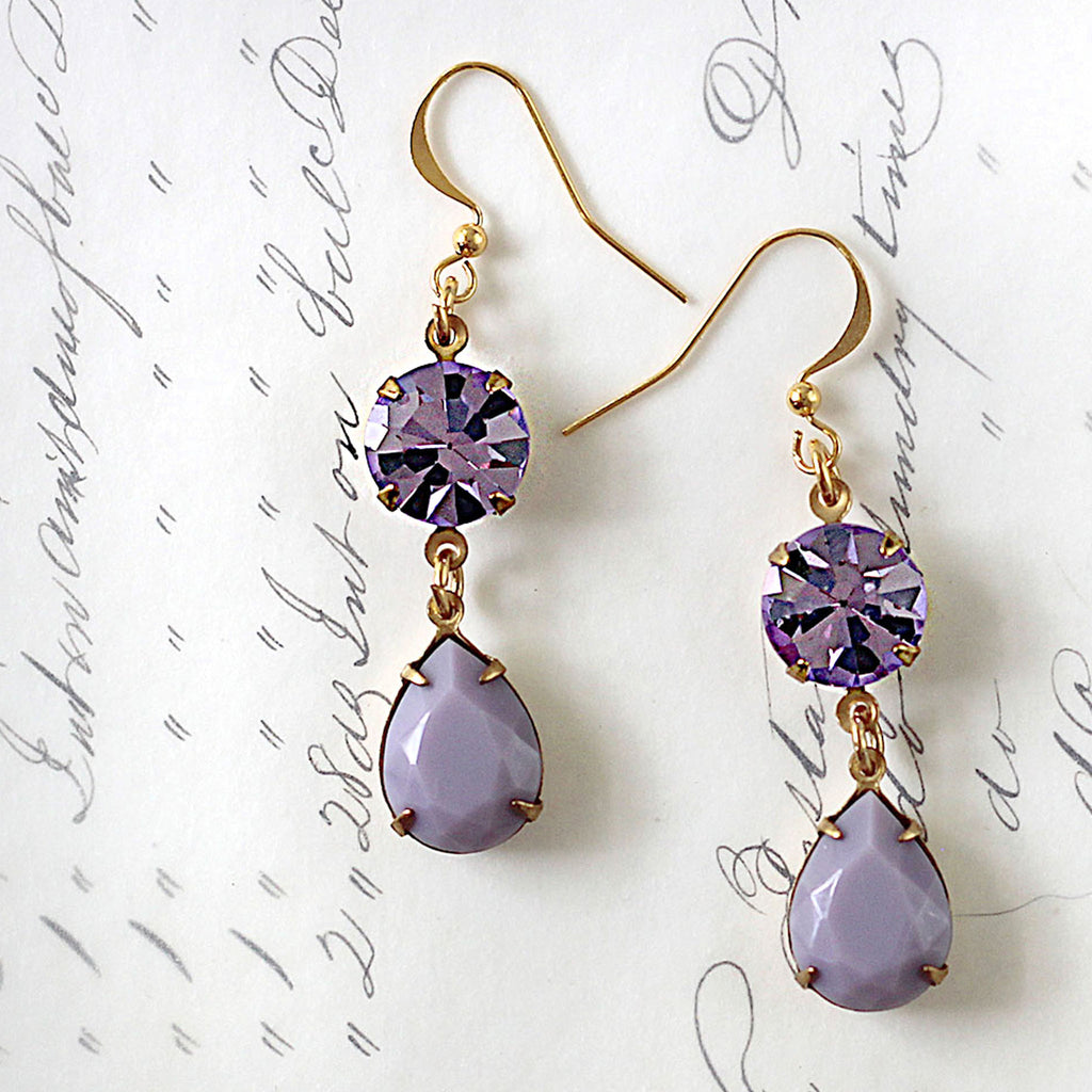 Preciosa Purple Rhinestone Earrings