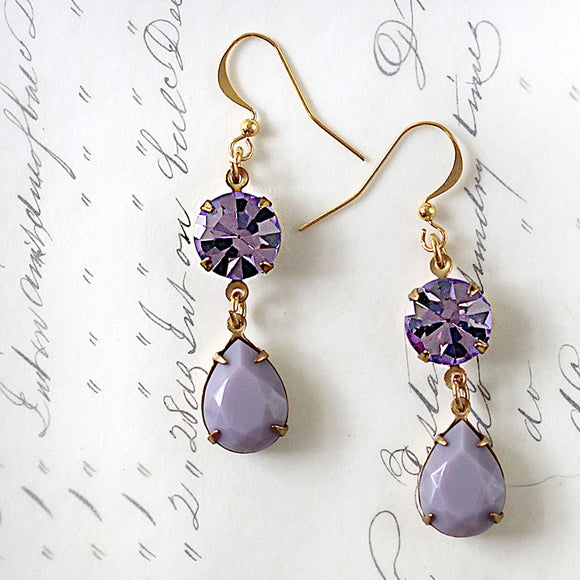 Preciosa Purple Rhinestone Earrings hanging