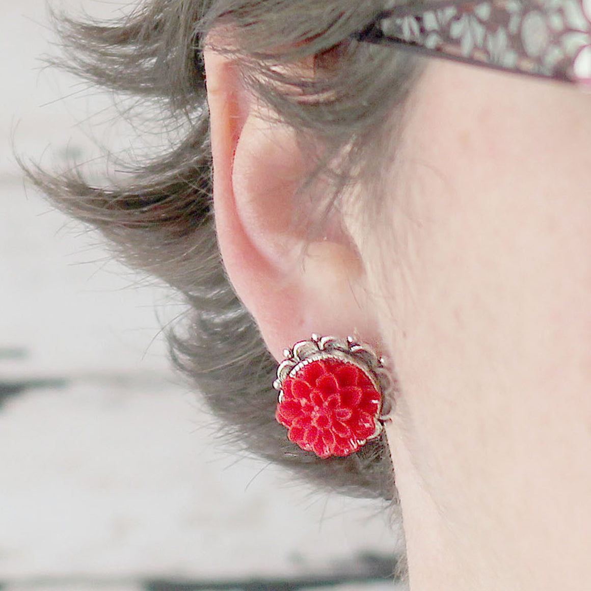 Dahlia Post Earrings Sassy Red modeled