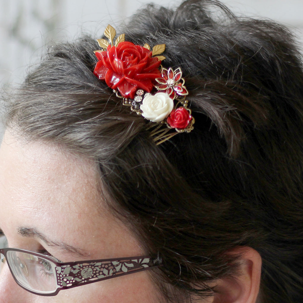 Decorative Hair Comb Red Rose Bouquet modeled