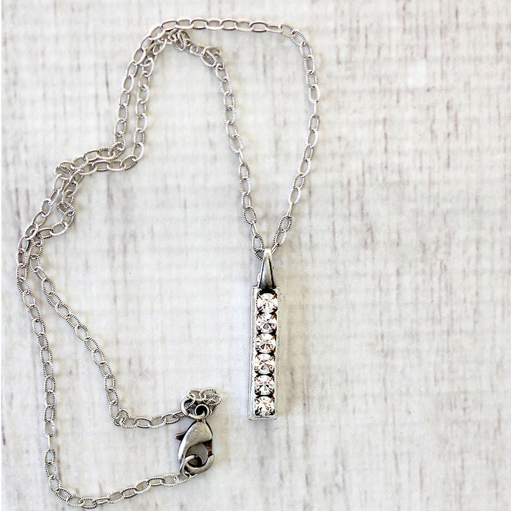 Silver Bar Pendant Necklace with Rhinestones