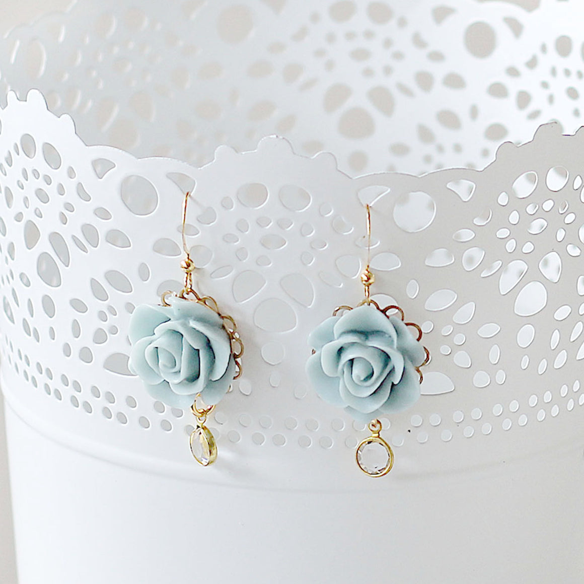 Romantic Blue Rose Earrings hanging