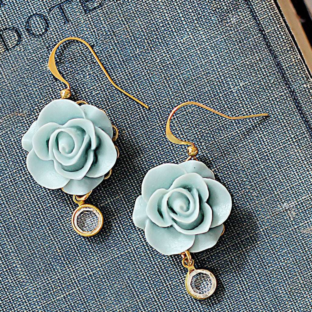 Romantic Blue Rose Earrings extreme close up