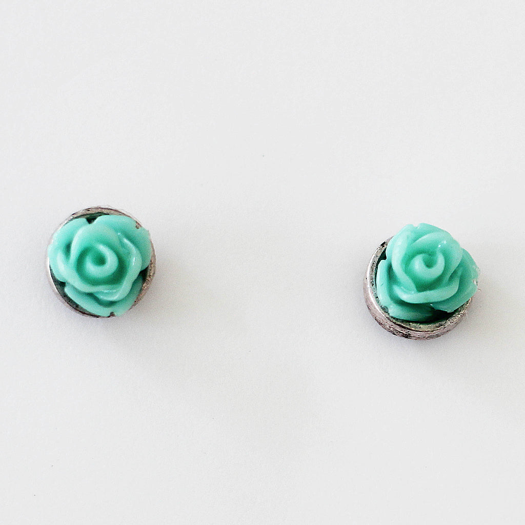 Post Rose Earrings Aqua Green close up view