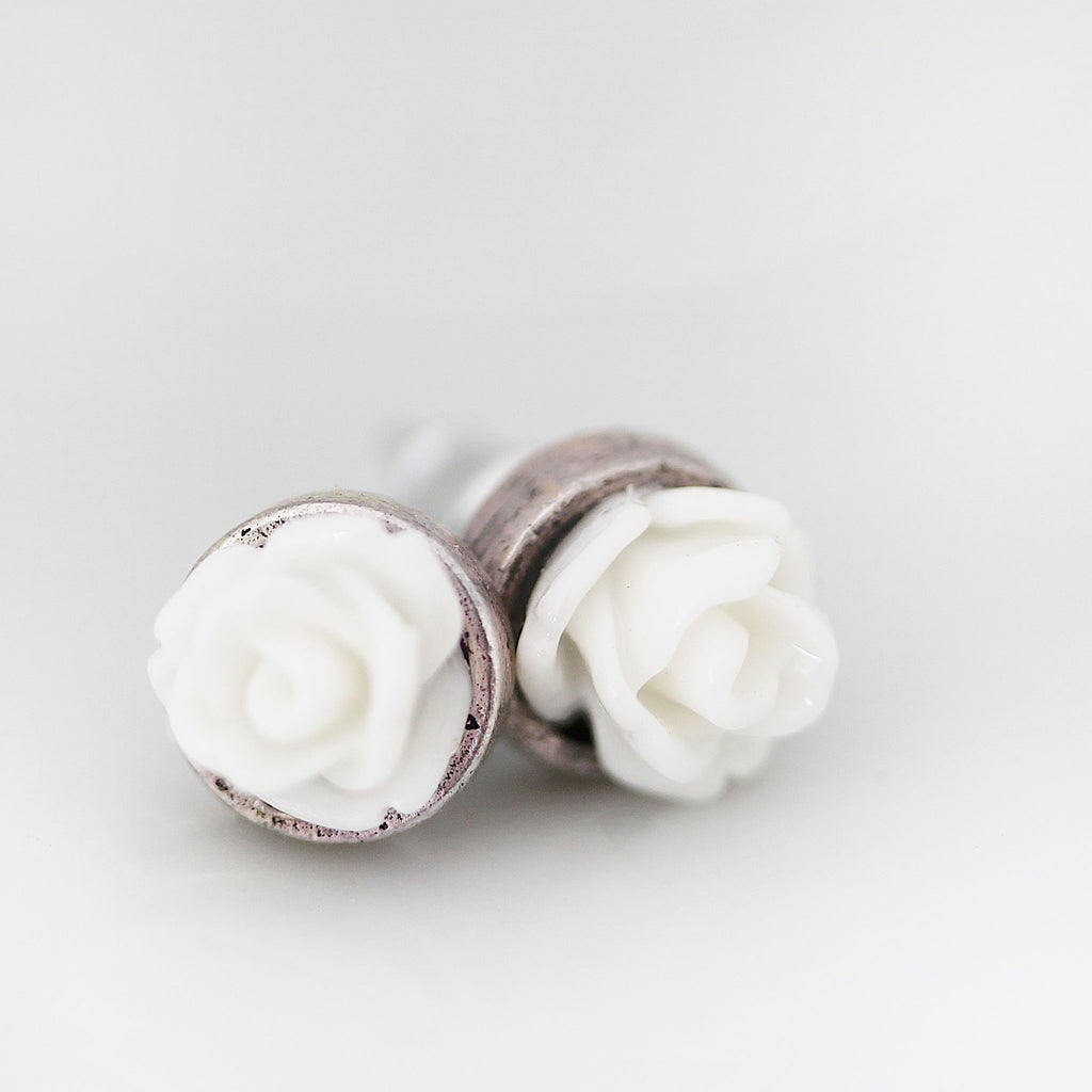 Post Rose Earrings White extreme close up