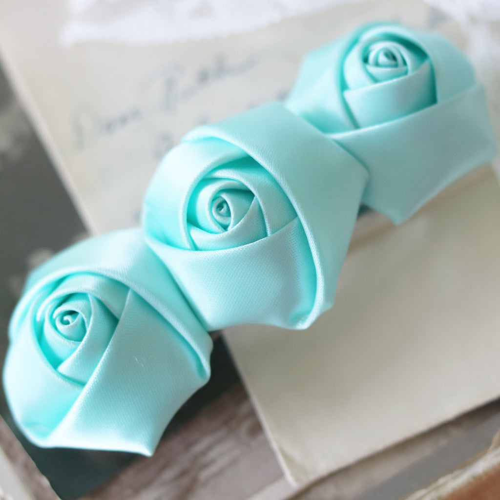 French Barrette Satin Roses Choose from 5 Colors