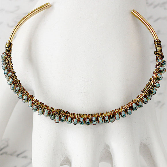 Wire Wrapped Beaded Skinny Bracelet Cuff Aqua and Gold