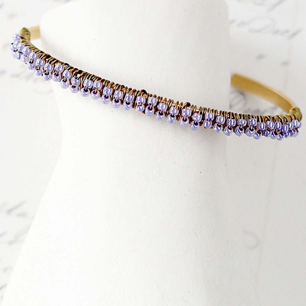 Skinny Gold and Lavender Bracelet Cuff