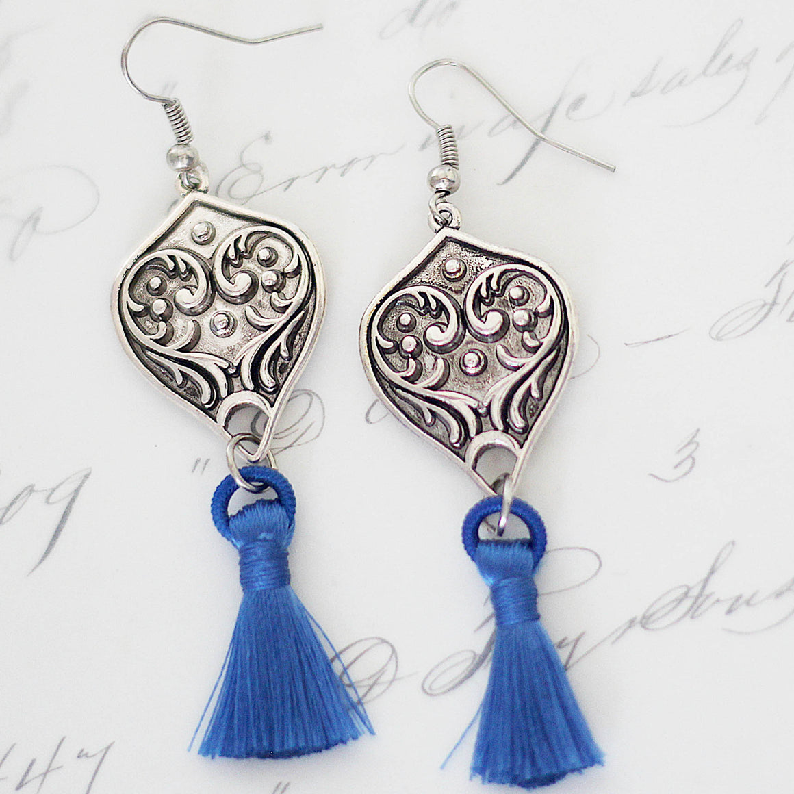 Tasseled Boho Earrings Silver and Lapis Blue