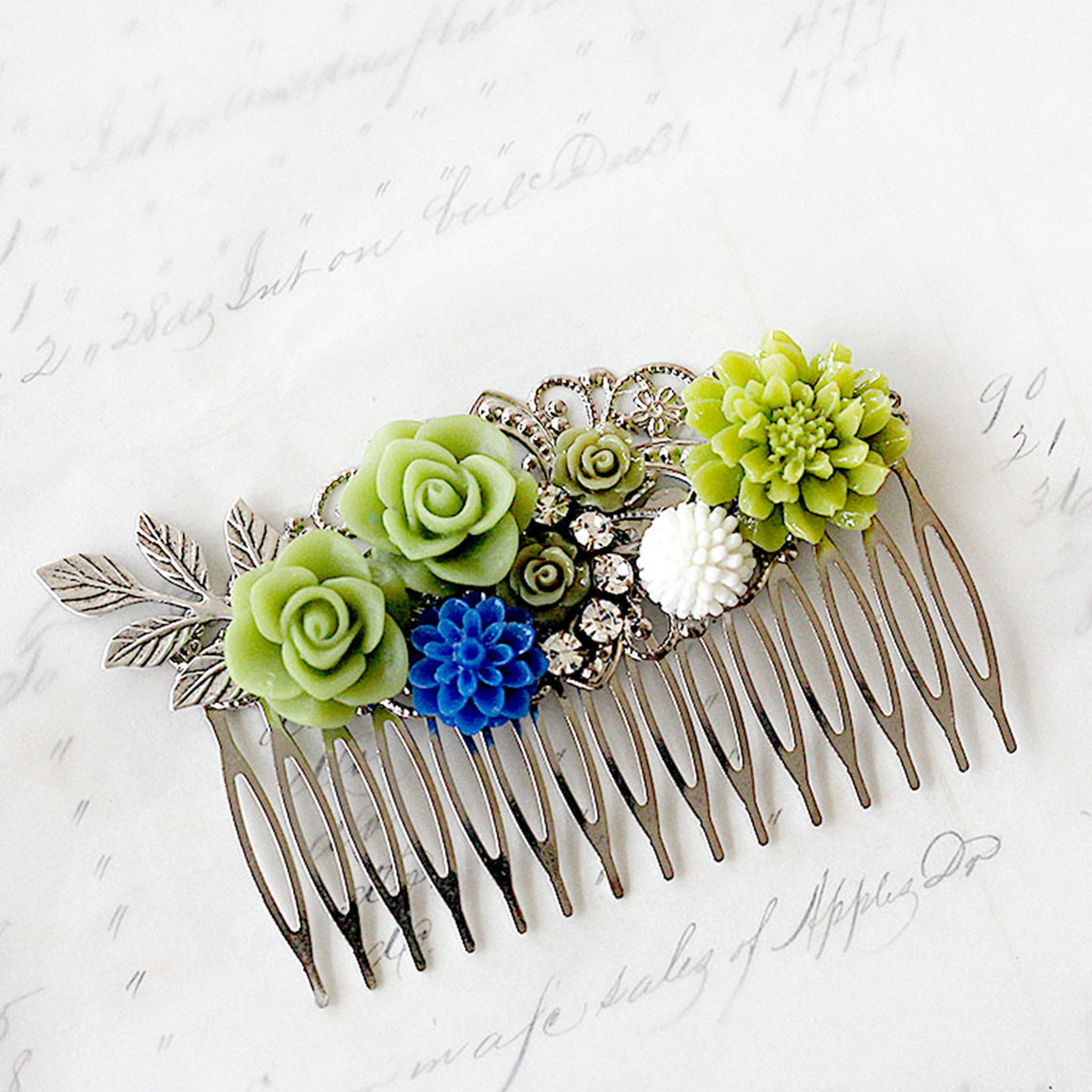 Decorative Hair Comb Silver with Green