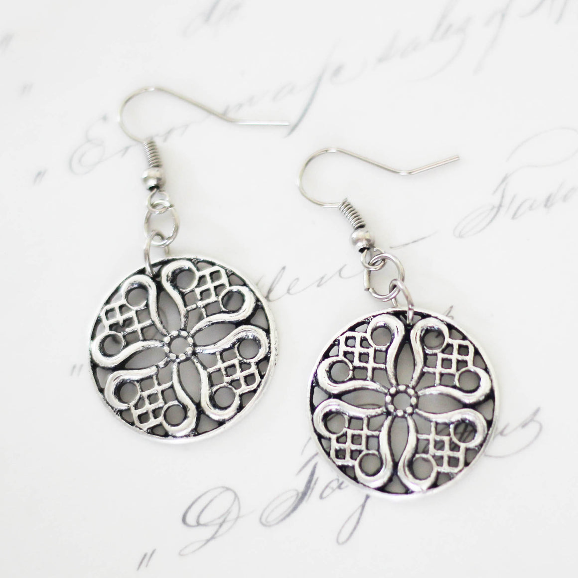 Antique Silver Filigree Earrings close up