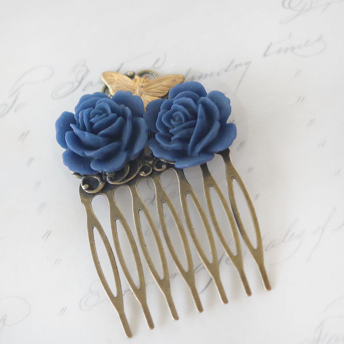 Small Decorative Hair Comb Navy Blue Roses and Butterfly