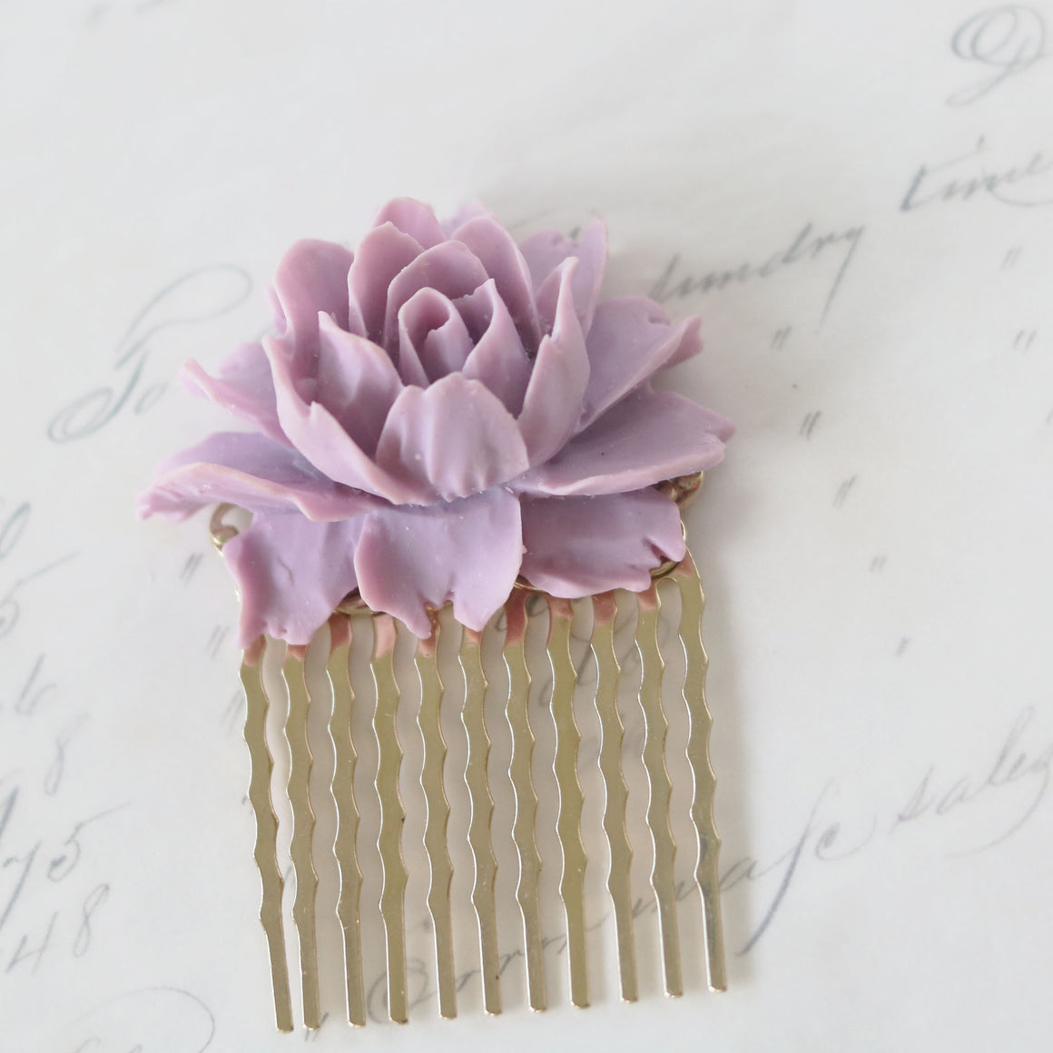 Small Decorative Hair Comb Lilac Rose