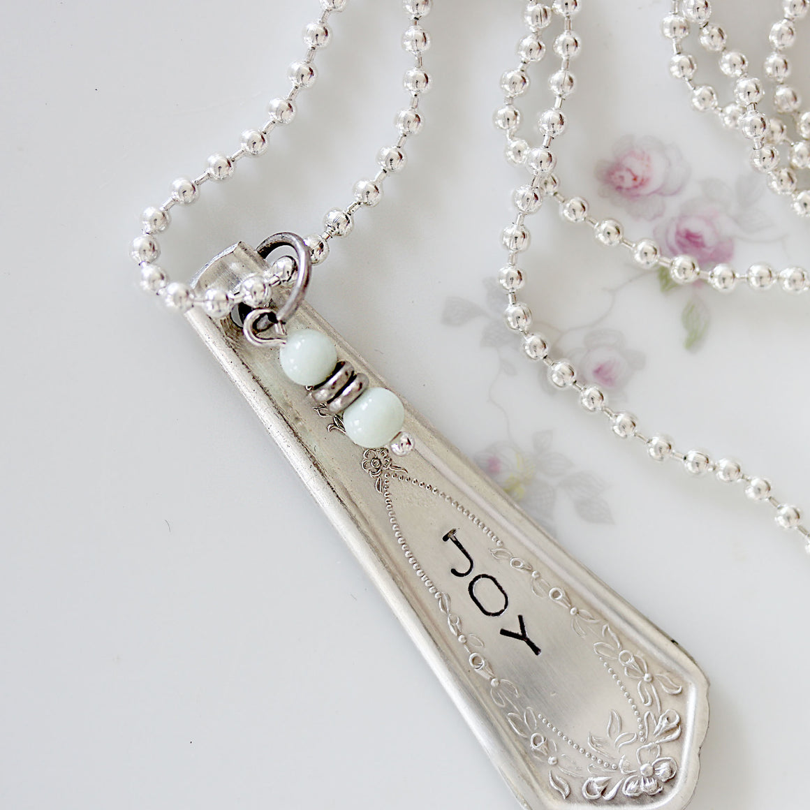 Spoon Jewelry Necklace with Pale Mint Bead Dangle