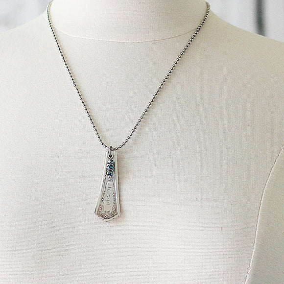 Spoon Jewelry Necklace with Glass Bead Dangle