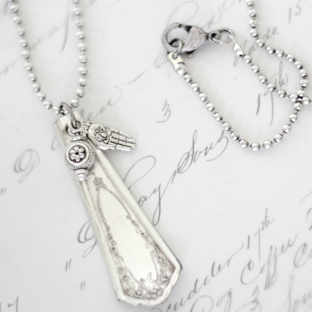 Spoon Jewelry Pendant with Silver Charm Dangles