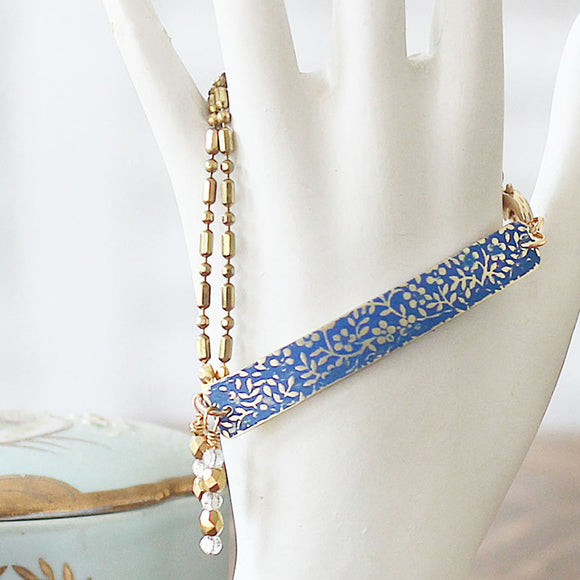 Textured Floral Bar Bracelet Lapis Blue
