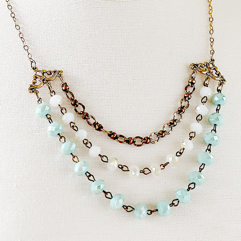 Multi Strand Necklace Beaded Gold and Seafoam