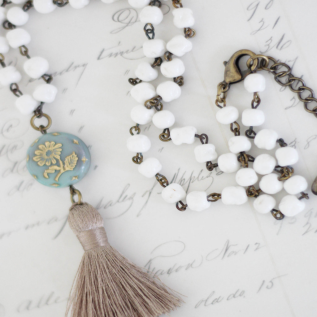 Milk Glass Beaded Tassel Necklace close up