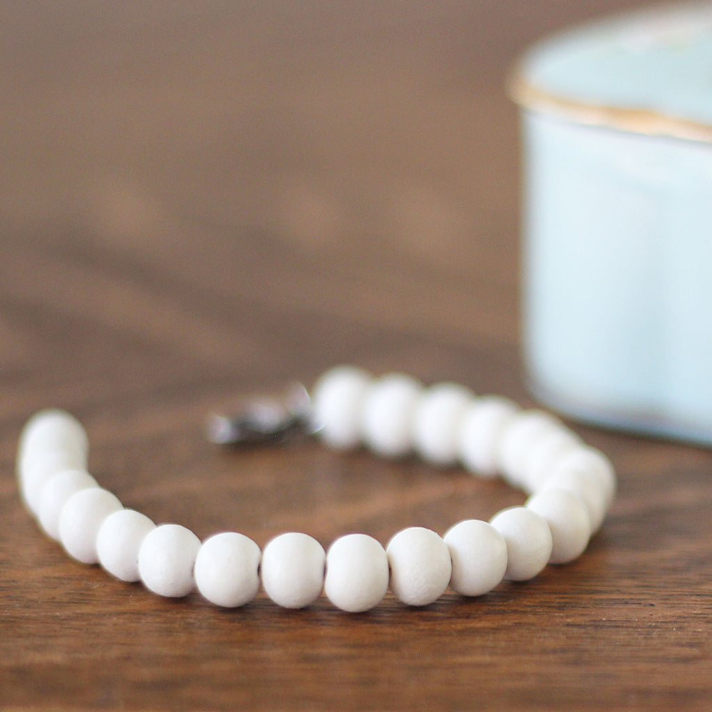 Wooden Bead Bracelet Soft Cream