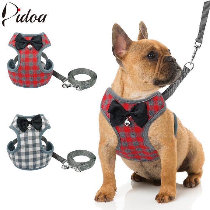 Small Dog Harness and Leash Set With Bowtie