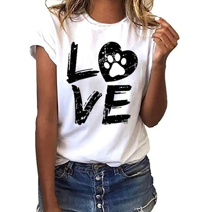 Love Paw Print Women Tees