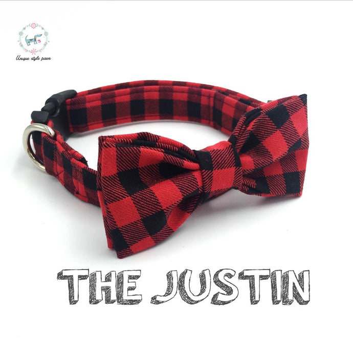 Red and Black Cotton Plaid  Dog Collar with Bow Tie  XS-XL
