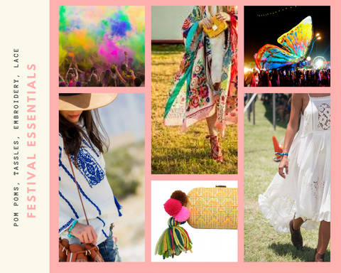 festival essentials - pom poms, tassles, embroidery and lace